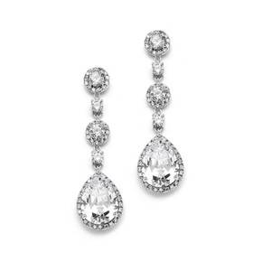 Mariell Glamorous Crystal Pear Drop Bridal Earrings