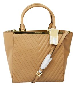 Michael Kors Leather Quilted Gold Hardware Strap Tote in Suntan