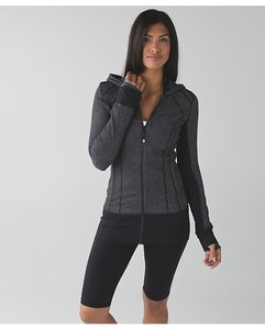 Lululemon Daily Practice Herringbone Black Hoodie Zip-up Jacket
