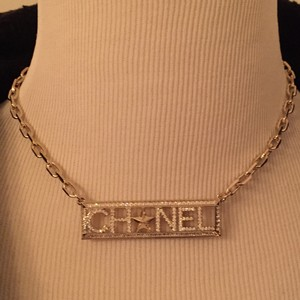 Chanel 2017 Crystal Logo Necklace