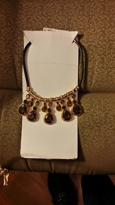 Ann Taylor NWT Ann Taylor Statement Necklace, Gray Crystals, CZ Design