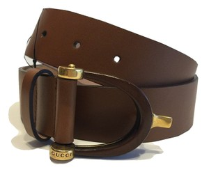 Gucci Gucci 309894 Brown Leather Belt Gucci Logo Gold and Wood Buckle