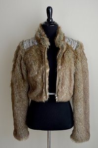 Free People Faux Fur Beaded Jacket