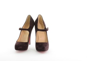 Christian Louboutin Aubergine Suede Burgundy Pumps