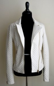 Zara Quilted white Leather Jacket