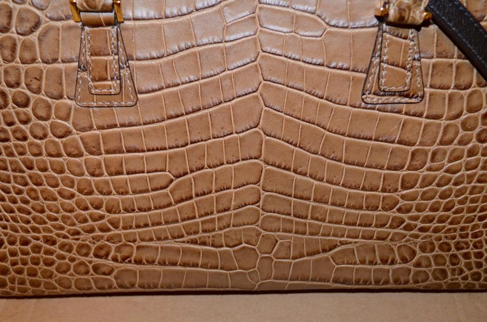 9dab688dd769 Michael Kors Collection Gia Crocodile Embossed Leather Shoulder ...