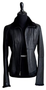 Guess Rabbit Fur Leather Leather Jacket