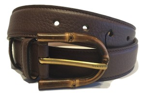 Gucci Gucci 322954 Brown Leather Belt Bamboo Buckle Size 34