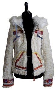 Free People Faux Fur Hooded White Jacket