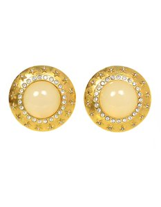Chanel Chanel Goldtone and Crystal Clip-On Earrings