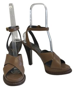 Saint Laurent Ysl Heels Summer Brown Sandals