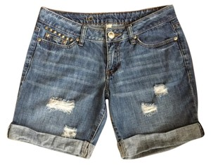 LC Lauren Conrad Boho Jean Distressed Studded Cuffed Shorts Denim