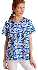 Anthropologie A-line Swing Woven Cotton Happy Print Top NWT Blue