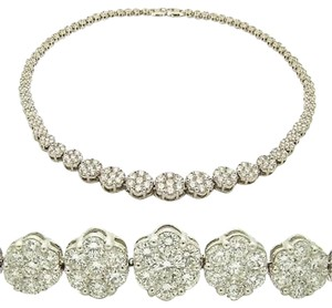 23.65,Ct,Diamond,Necklace,Flower,Cluster,14k,White,Gold