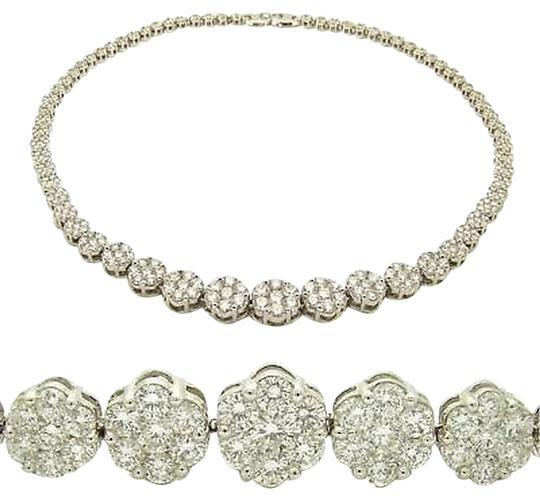Other 23.65,Ct,Diamond,Necklace,Flower,Cluster,14k,White,Gold