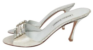 Manolo Blahnik Slip On Silver Sandals