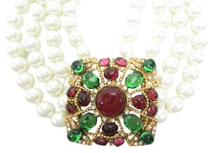 Chanel Vintage 4 Strand Pearl Gripoix, Crystal Masterpiece Necklace, Choker