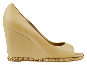 Chanel Wedge Peep Toe Lambskin Beige Platforms