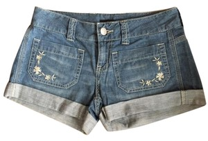 London Jean Cuffed Embroidered Weight Boho Mini/Short Shorts Light Blue
