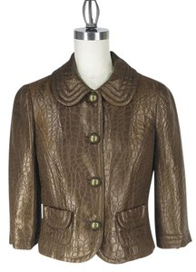 Trina Turk Cropped Quilted Bronze/Copper Jacket