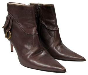 Dior Christian Ankle Leather Heeled Brown Boots