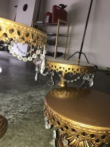 Gold / Bronze Cake Stands With Chandelier Set Of 3