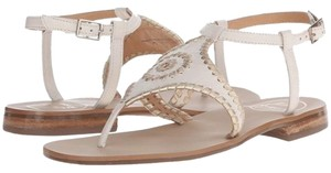 Jack Rogers Leather Sale Bone/Gold Sandals
