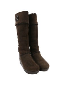 Tory Burch Suede Wedge Brown Boots