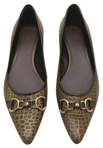 Cole Haan Alligator Buckle Brown / Gold Flats