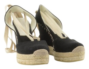 Ralph Lauren Collection Espadrilles Tie Tie Up Canvas Black Wedges