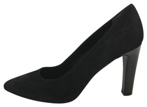 Franco Sarto Suede Heel Patent Leather Black Pumps