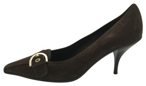 Coach Gold Buckle 4 Inch Heel Pointed Toe Brown Pumps