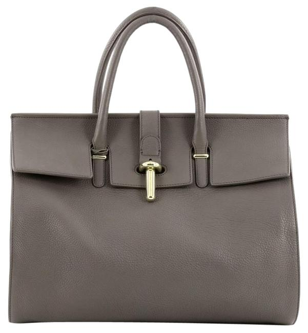 Item - Tube Round Grey Leather Tote