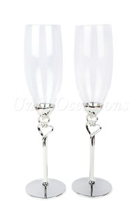 Unik Occasions Double Hearts Toasting Flutes/champagne Glasses3157a