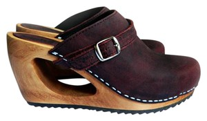 Sanita Leather Wood Randy Wooden rust Mules