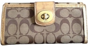 Coach Coach Signature Jacquard Fabric Wallet w/ Gold Leather Trim & Interior
