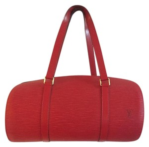 Louis Vuitton Epi Leather Soufflot Barel Tote in Red