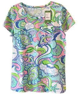 Lilly Pulitzer Casual T-shirt Bright Print Spring Top Blue, Green, Multi