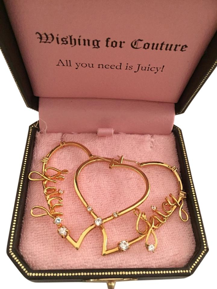 Juicy Couture Large Signature Heart Hoop Earrings W Crystals
