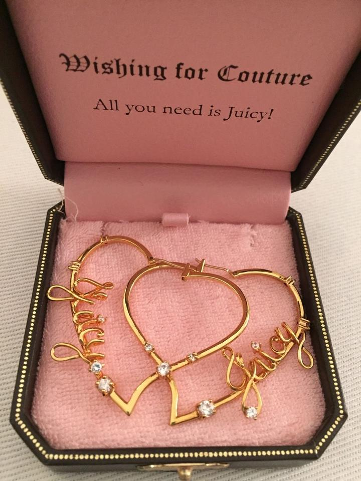 Juicy Couture Large Signature Heart Hoop Earrings W Crystals 12345