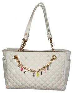 Betsey Johnson Quilted Diamond Satchel in white