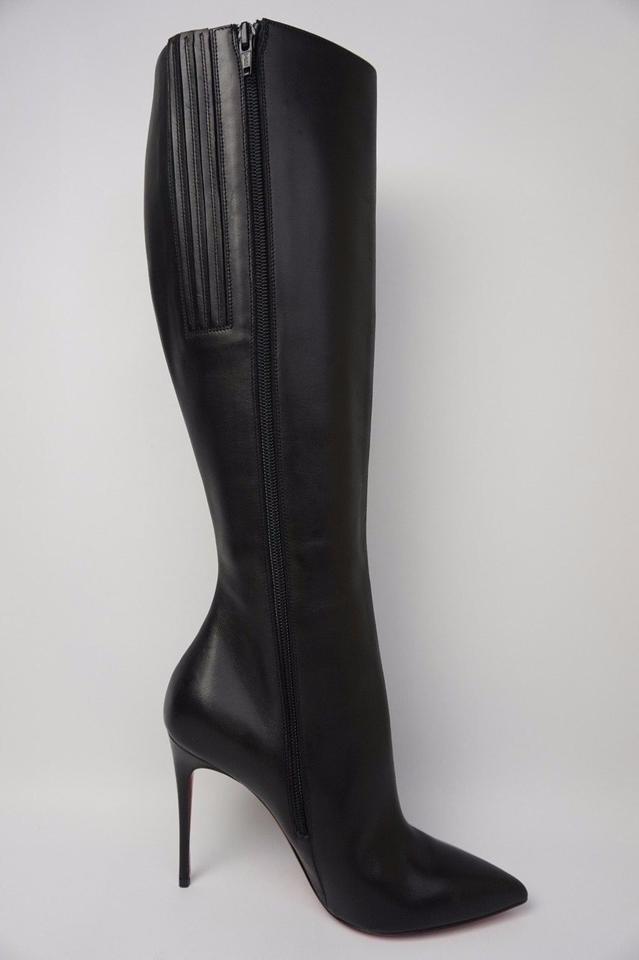 9df848c3e63 Christian Louboutin Black Tournoi Leather Knee High Pointed Boots/Booties  Size US 6.5 Regular (M, B) 43% off retail