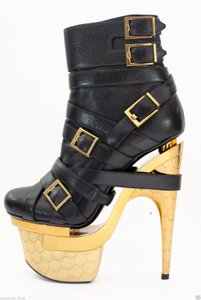 Versace Leather Boot Platform Black Boots