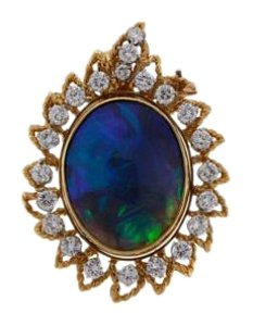 Other 18K Gold 23.51 cts Black Opal & diamond pendant/pin w appraisal