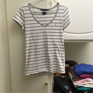 Ralph Lauren T Shirt Grey and white stripes