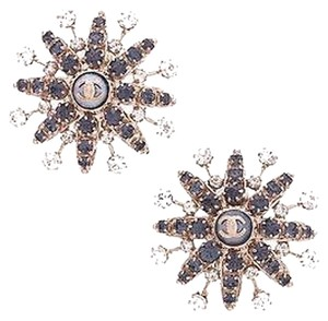 Chanel Chanel Gold-tone Blue Crystal Starburst Clip-on Earrings