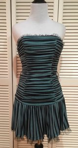 Betsey Johnson Ruched Strapless Tulle Striped Lined Dress