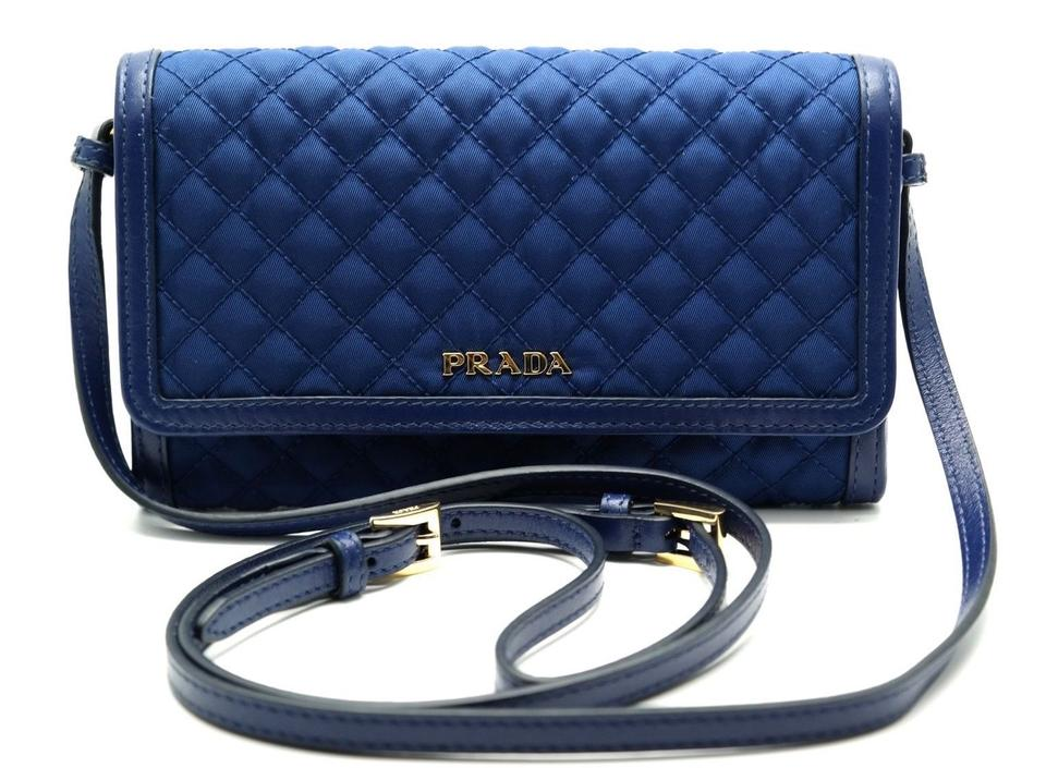 a4bcd0ce25ec Prada Wallet Quilted Clutch Cross Body 1mt437 Bluette Nylon/Leather ...