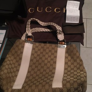 Gucci Tote in Brown And Cream
