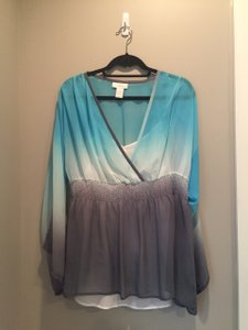 Soft Surroundings Ombre Chiffon Pullover Top Turqoise Blue, Grey, White